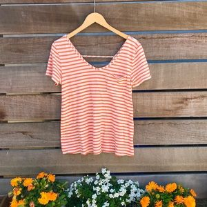Anthro Orange and tan striped pure + good t-shirt